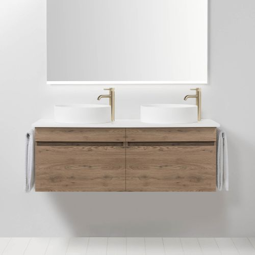 Soft Solid Surface 1300 Wall-Hung Vanity Double Bowls 2 Drawers by VCBC