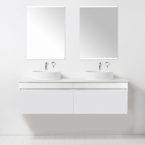 Soft Solid Surface 1550 Wall-Hung Vanity Double Bowls 2 Drawers by VCBC