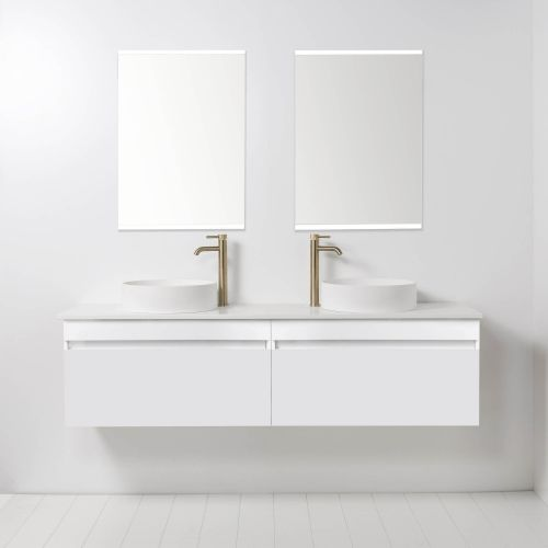 Soft Solid Surface 1760 Wall-Hung Vanity Double Bowls 2 Drawers by VCBC