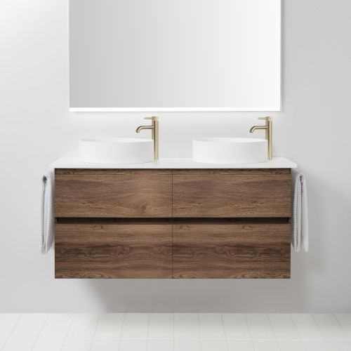 Soft Solid Surface 1300 Wall-Hung Vanity Double Bowls 4 Drawers by VCBC