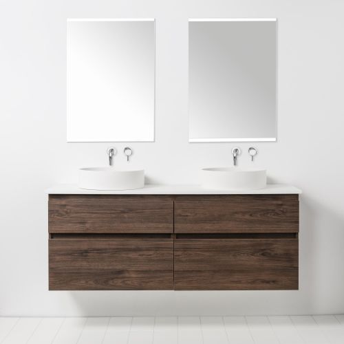 Soft Solid Surface 1550 Wall-Hung Vanity Double Bowls 4 Drawers by VCBC