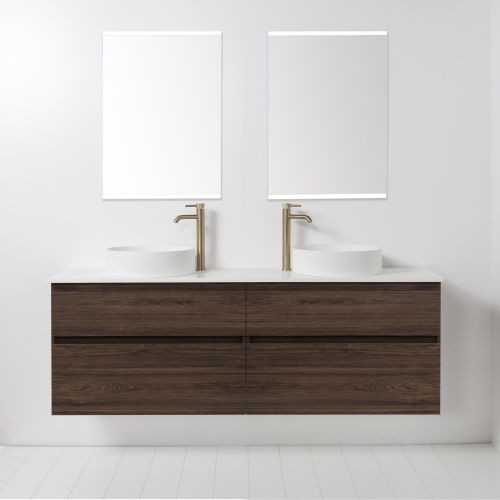 Soft Solid Surface 1760 Wall-Hung Vanity Double Bowls 4 Drawers by VCBC