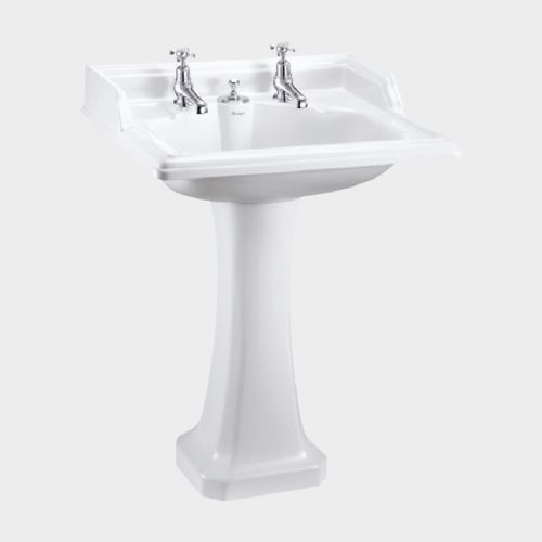 Classic Rectangle 650 Basin with Invisible Overflow & Pedestal by Burlington