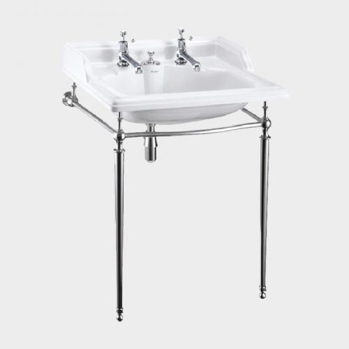 Classic Rectangle 650 Basin with Invisible Overflow & Chrome Washstand by Burlington