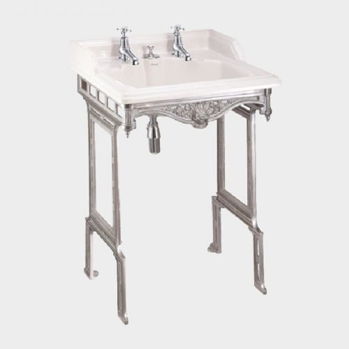 Classic Rectangle 650 Basin with Invisible Overflow & Traditional Stand by Burlington