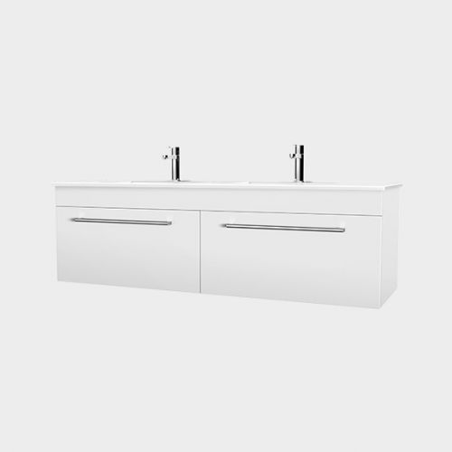 Zara 1200 Wall-Hung Double Bowl Vanity 2 Drawers by VCBC