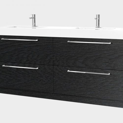 Splash 1800, 4 Drawers Double Bowl. Charred Oak by VCBC