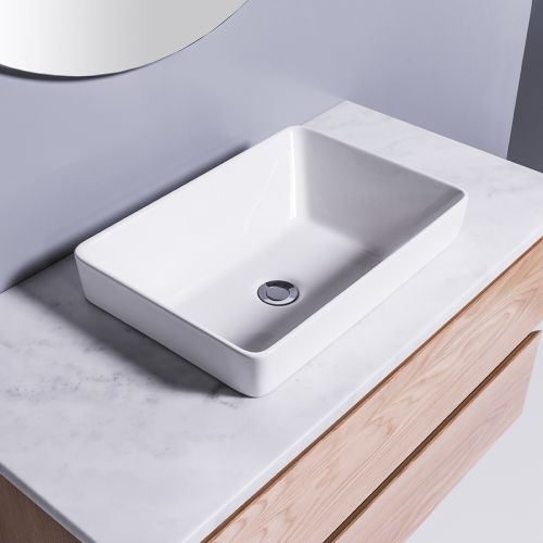 Sleek Rectangle Semi-Recessed Basin by Michel Cesar