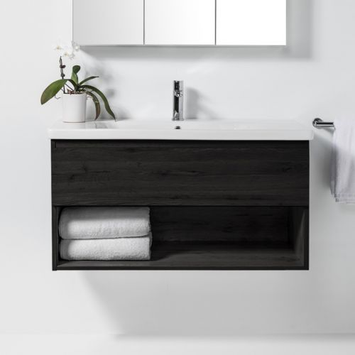 Soft 1000 Wall-Hung Vanity 1 Drawer & Open Shelf by VCBC
