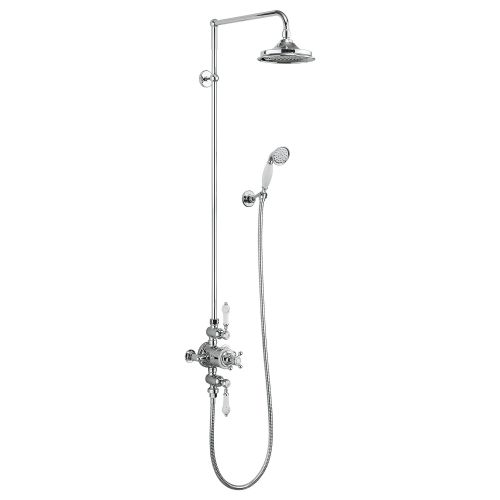 Avon Thermostatic Double Outlet Shower Valve with Riser, Arm, Rose, Handset & Holder by Burlington
