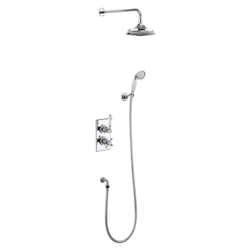 Trent Thermostatic Double Outlet Shower Valve with Fixed Rose, Handset & Holder by Burlington