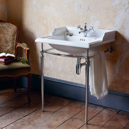 Classic Rectangle 650 Basin & Chrome Wash Stand by Burlington