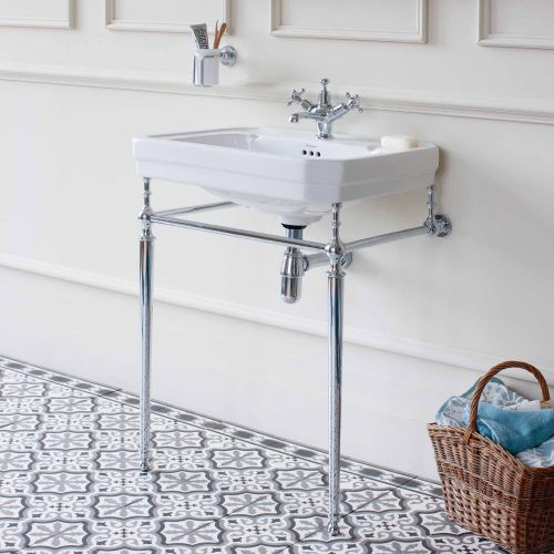 Victorian Rectangle 610 Basin & Chrome Wash Stand by Burlington