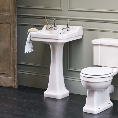Edwardian Rectangle 560 Basin & Pedestal by Burlington