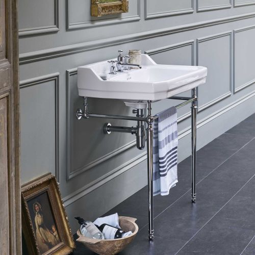 Edwardian Rectangle 610 Basin & Chrome Wash Stand by Burlington