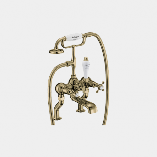 Claremont Bath Shower Mixer Deck Mounted with 'S' Adjuster in Gold/White by Burlington