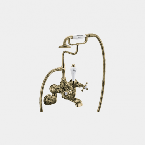 Claremont Regent Bath Shower Mixer Wall Mounted with 'S' Adjuster in Gold/White by Burlington