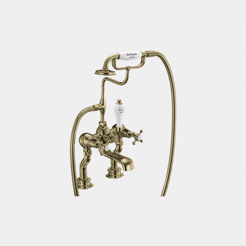 Claremont Regent Bath Shower Mixer Deck Mounted with 'S' Adjuster in Gold/White by Burlington
