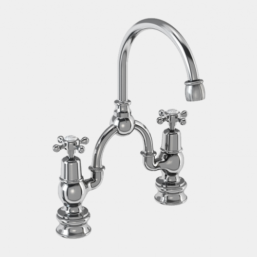 Claremont Regent Two Tap Hole Arch Mixer in Chrome/White with Curved Spout (200mm Centres) by Burlington