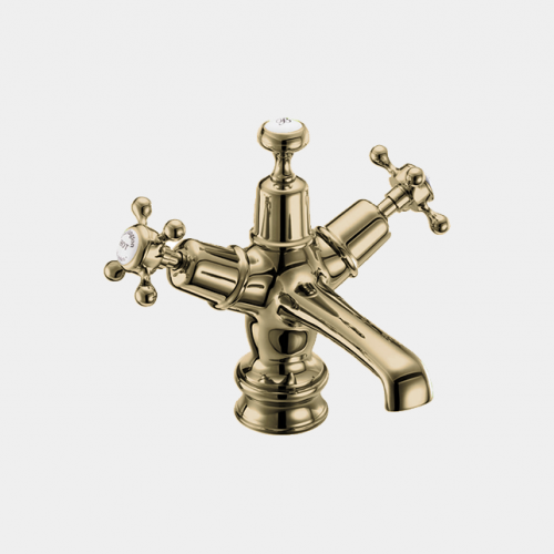 Claremont Regent Basin Mixer in Gold/White with Click Clack Waste by Burlington