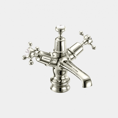 Claremont Regent Basin Mixer in Nickel/White with Click Clack Waste by Burlington