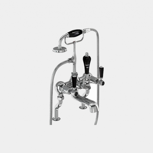 Kensington Bath Shower Mixer Deck Mounted with 'S' Adjuster in Chrome/Black by Burlington