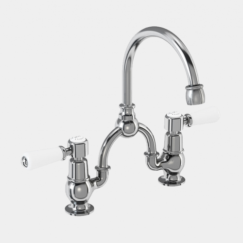 Kensington Two Tap Hole Arch Mixer in Chrome/White with Curved Spout (200mm Centres) by Burlington