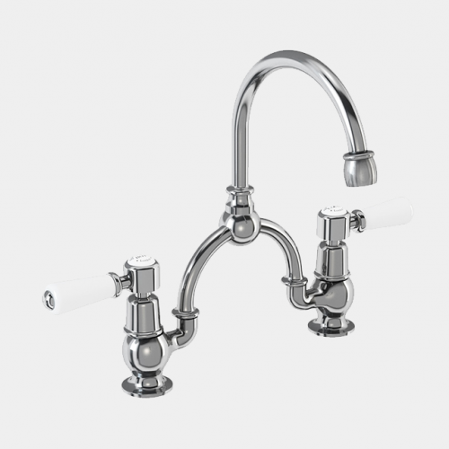 Kensington Two Tap Hole Arch Mixer in Chrome/White with Curved Spout (230mm Centres) by Burlington