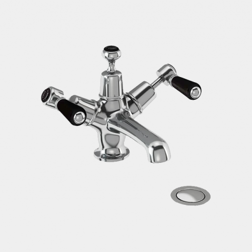 Kensington Basin Mixer in Chrome/Black with Click Clack Waste by Burlington