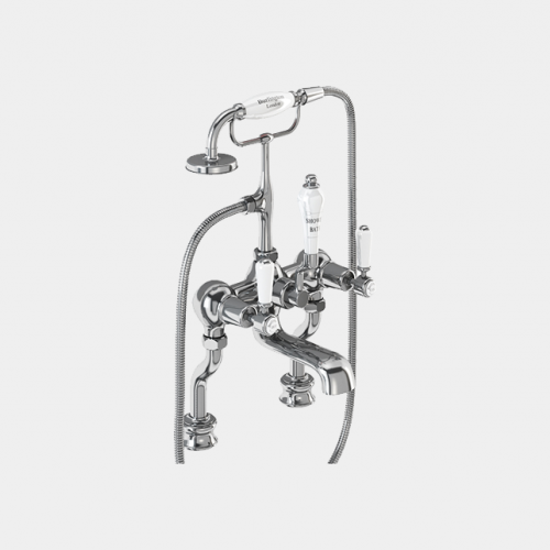 Kensington Regent Bath Shower Mixer Deck Mounted with 'S' Adjuster in Chrome/White by Burlington