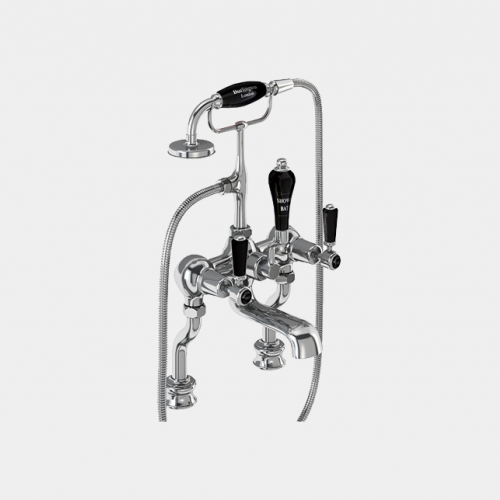 Kensington Regent Bath Shower Mixer Deck Mounted with 'S' Adjuster in Chrome/Black by Burlington