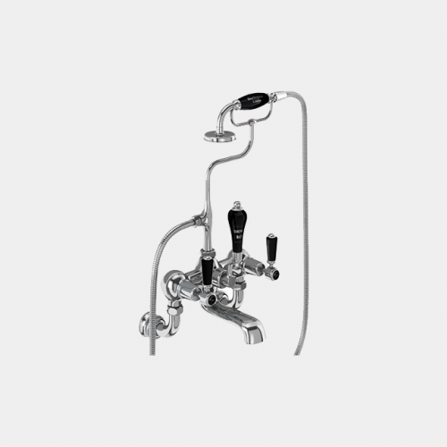 Kensington Bath Shower Mixer Wall Mounted with 'S' Adjuster in Chrome/Black by Burlington