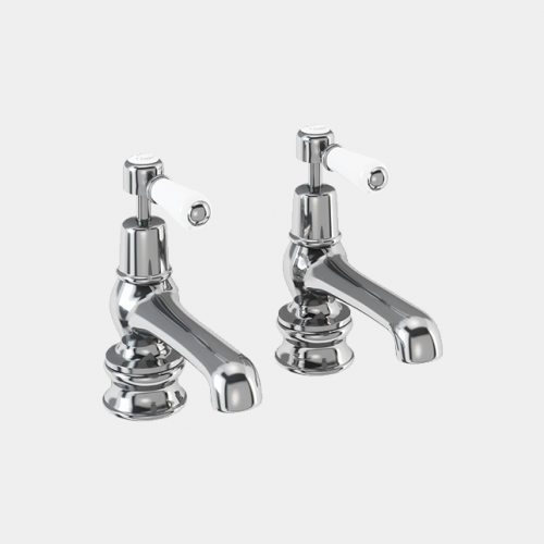 Kensington Regent Bath Tap Deck Mounted 12.5cm in Chrome/White by Burlington