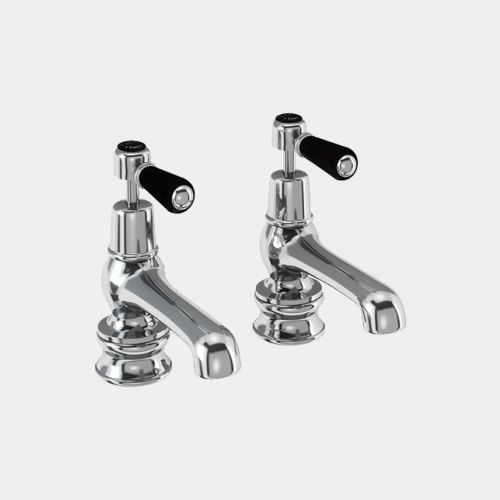 Kensington Regent Bath Tap Deck Mounted 12.5cm in Chrome/Black by Burlington