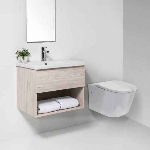 Sphere Easy Height Rimless Wall-Hung Toilet Suite with In-Wall Cistern by VCBC