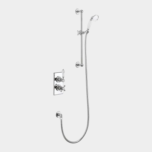 Trent Thermostatic Single Outlet Concealed Shower Valve with Rail, Hose & Handset by Burlington