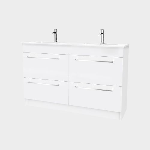 Zara 1200 Floor-Standing Double Bowl Vanity 4 Drawers by VCBC