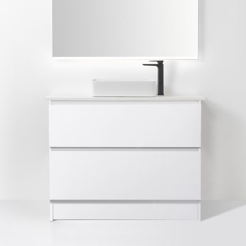 Soft Solid Surface 1000 Floor Standing Vanity 2 Drawers by VCBC