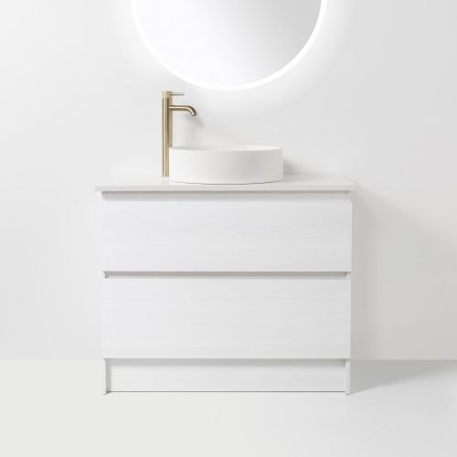 Soft Solid Surface 900 Floor Standing Vanity 2 Drawers by VCBC