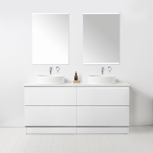 Soft Solid Surface 1550 Floor Standing Vanity Double Bowls 4 Drawers by VCBC