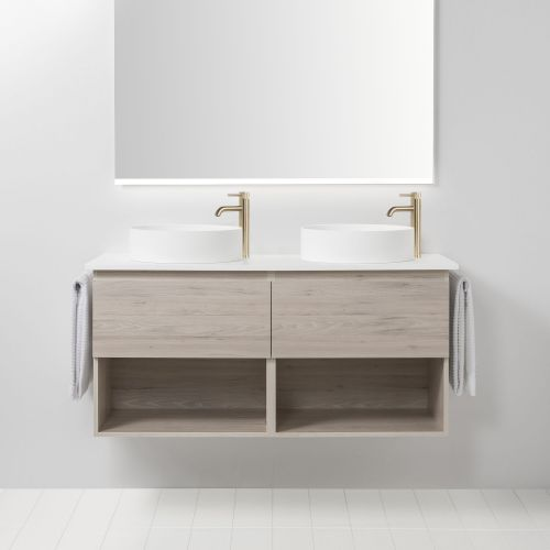 Soft Solid Surface 1300 Wall-Hung Vanity Double Bowls 2 Drawers & Open Shelves by VCBC