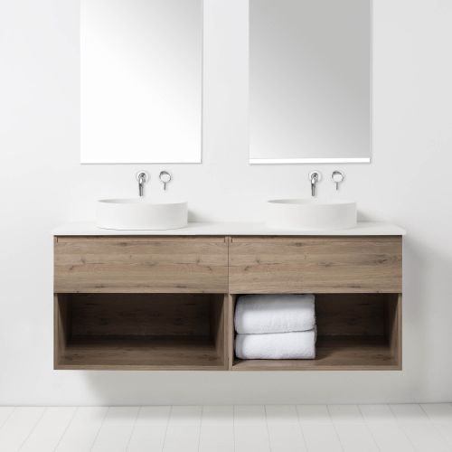 Soft Solid Surface 1550 Wall-Hung Vanity Double Bowls 2 Drawers & Open Shelves by VCBC