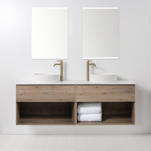 Soft Solid Surface 1760 Wall-Hung Vanity, Double Bowls, 2 Drawers & Open Shelves by VCBC