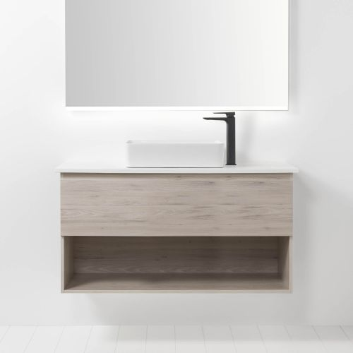 Soft Solid Surface 1000 Wall-Hung Vanity 1 Drawer & Open Shelf by VCBC