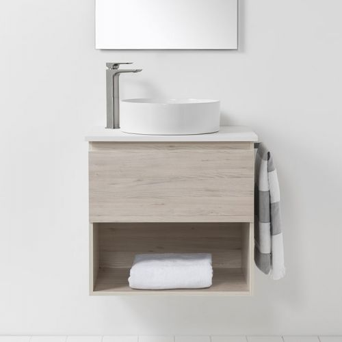 Soft Solid Surface 650 Wall-Hung Vanity 1 Drawer & Open Shelf by VCBC
