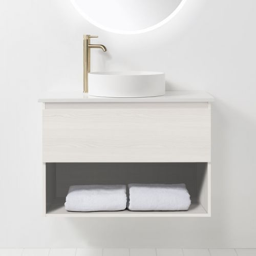 Soft Solid Surface 900 Wall-Hung Vanity 1 Drawer & Open Shelf by VCBC