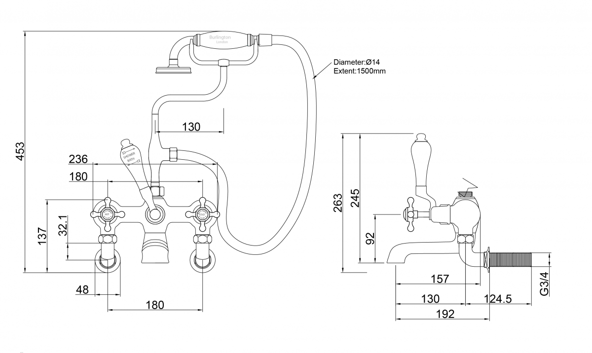 Claremont Wall-Mounted Bath/Shower Mixer