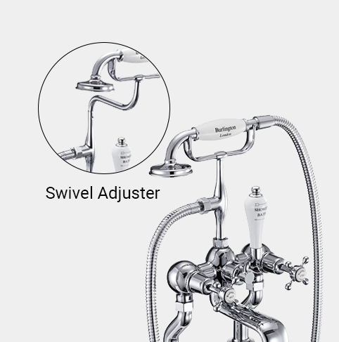Claremont Bath Shower Mixer Wall Mounted with 'S' Adjuster in Chrome/White