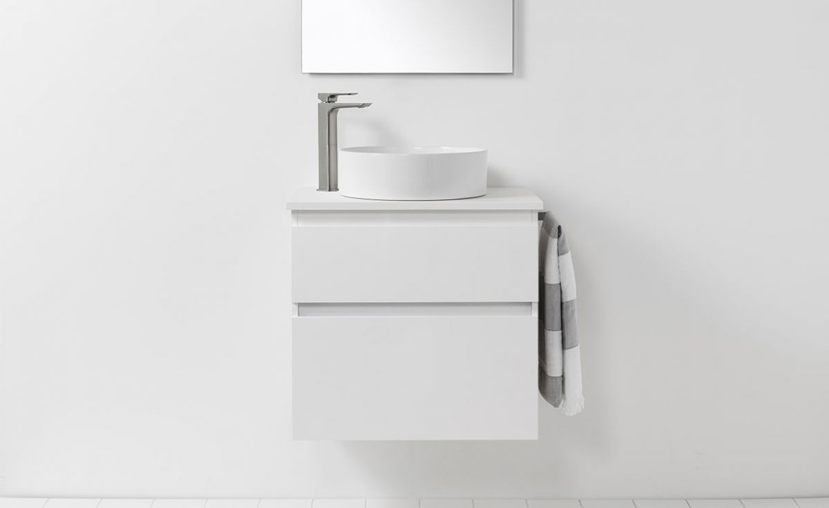 Soft Solid Surface 650 Wall-Hung Vanity 2 Drawers
