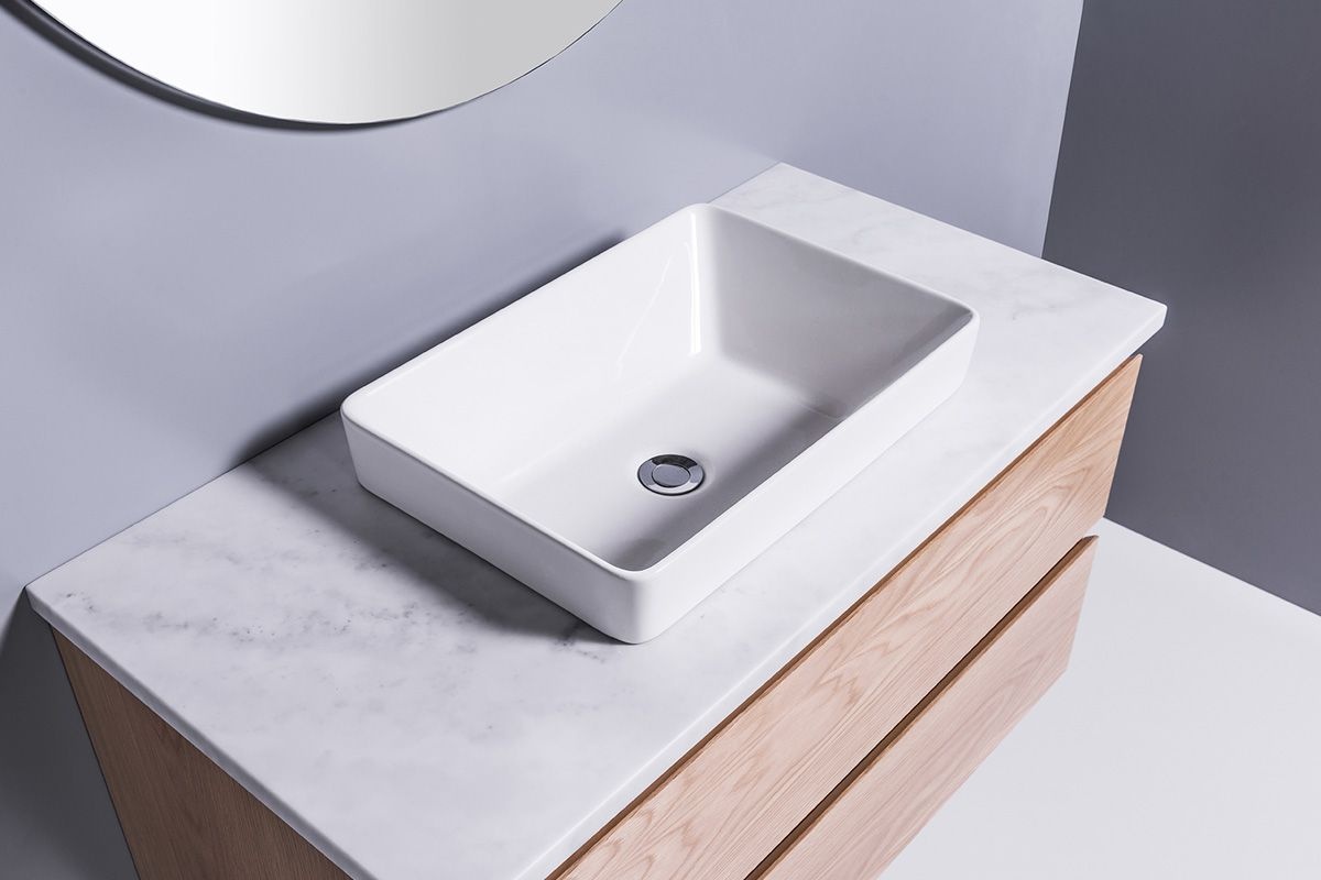 Sleek Rectangle Semi-Recessed Basin